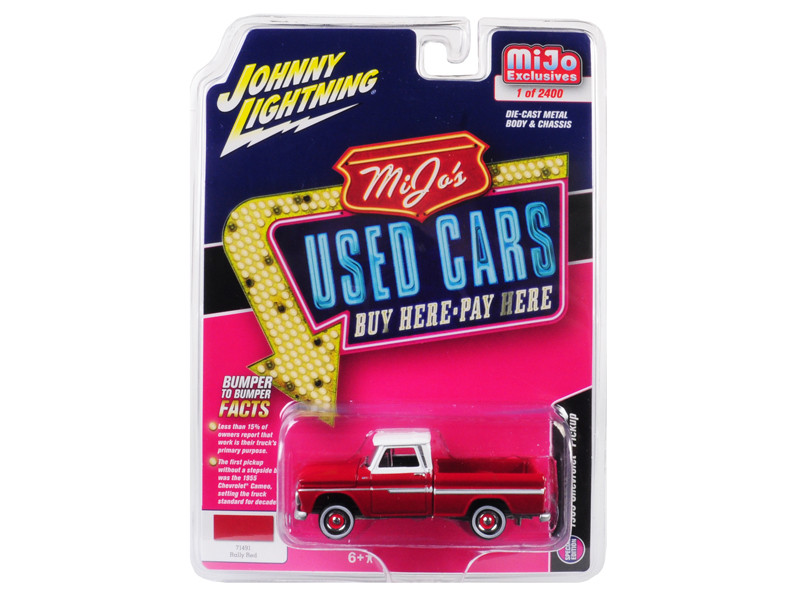 1965 Chevrolet Pickup Truck Red White Roof Used Cars Series Limited Edition 2400 pieces Worldwide 1/64 Diecast Model Car Johnny Lightning JLCP7134