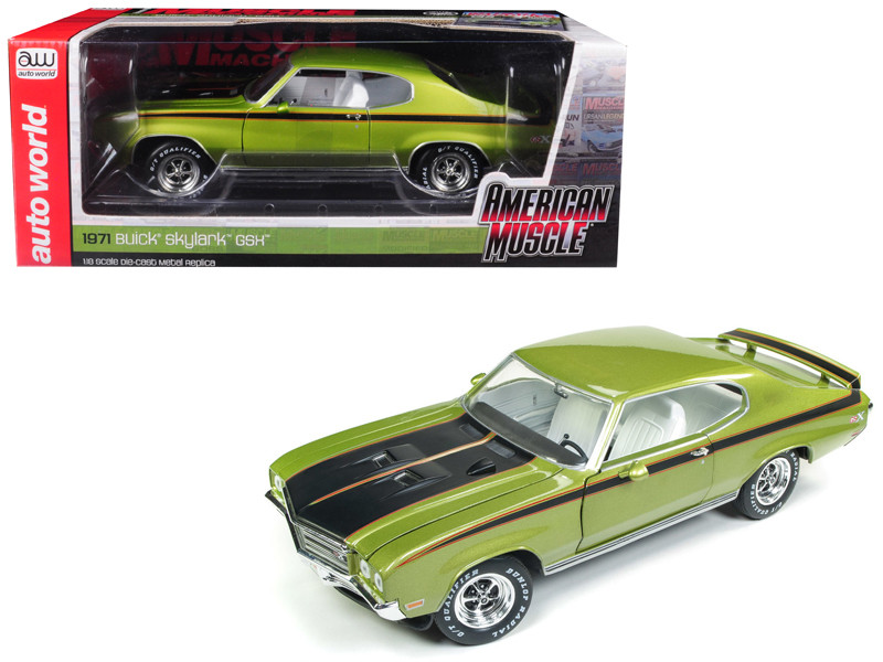 1971 Buick Skylark GSX Limemist Green White Interior Hemmings Muscle Machines Magazine Limited Edition 300 pieces Worldwide 1/18 Diecast Model Car Autoworld AMM1121
