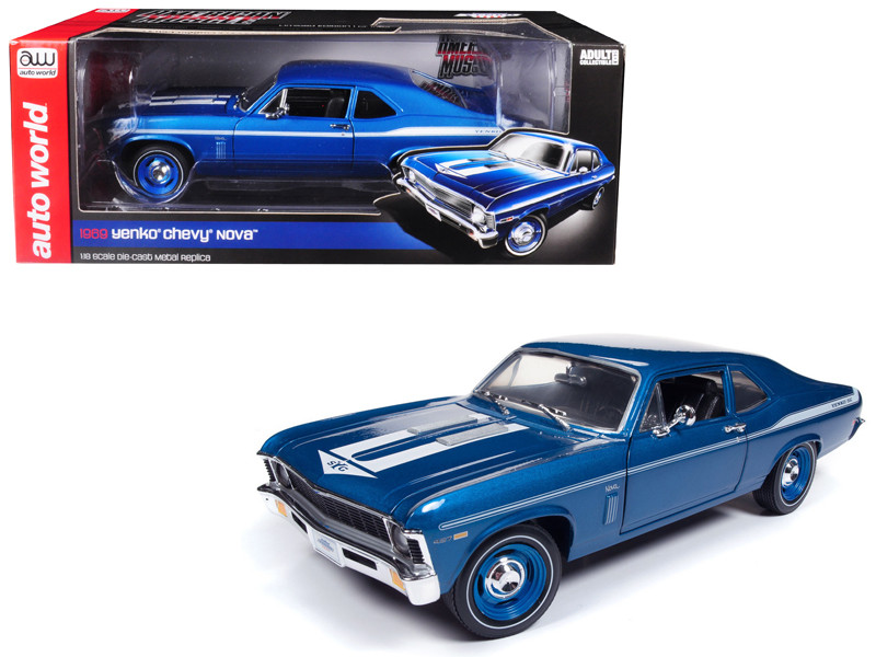 1969 Chevrolet Yenko Nova Blue White Stripes Limited Edition 1002 pieces Worldwide 1/18 Diecast Model Car Autoworld AMM1135