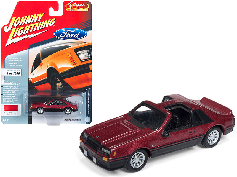 1982 Ford Mustang GT 5.0 Medium Red Poly Flat Black Classic Gold Hobby Exclusive Limited Edition 1800 pieces Worldwide 1/64 Diecast Model Car Johnny Lightning JLSP033