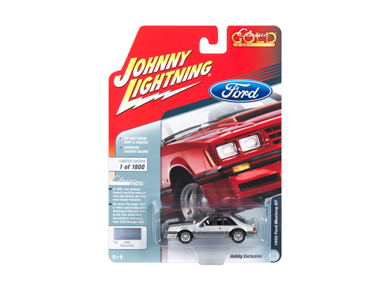 1982 Ford Mustang GT 5.0 Silver Poly Black Stripes Classic Gold Hobby Exclusive Limited Edition 1800 pieces Worldwide 1/64 Diecast Model Car Johnny Lightning JLSP038