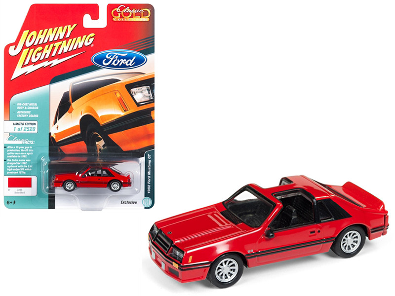 1982 Ford Mustang GT 5.0 Brite Red Black Stripes Classic Gold Limited Edition 2520 pieces Worldwide 1/64 Diecast Model Car Johnny Lightning JLSP040