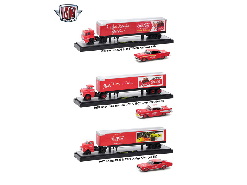 Auto Haulers Coca Cola Release 3 Trucks Set 1/64 Diecast Models M2 Machines 56000-50B01