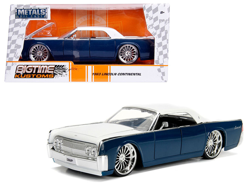 1963 Lincoln Continental Navy Blue White Top 1/24 Diecast Model Car Jada 99554