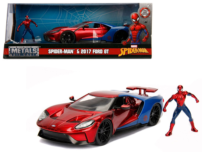2017 Ford GT Spider Man Diecast Figure Marvel Series 1/24 Diecast Model Car Jada 99725