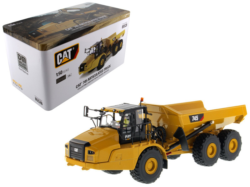 CAT Caterpillar 745 Articulated Hauler Dump Truck Removable Operator High Line Series 1/50 Diecast Model Diecast Masters 85528