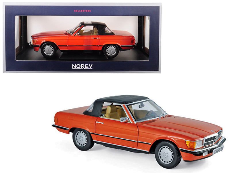 1986 Mercedes Benz 300 SL Coupe Inca Red Orange 1/18 Diecast Model Car Norev 183467