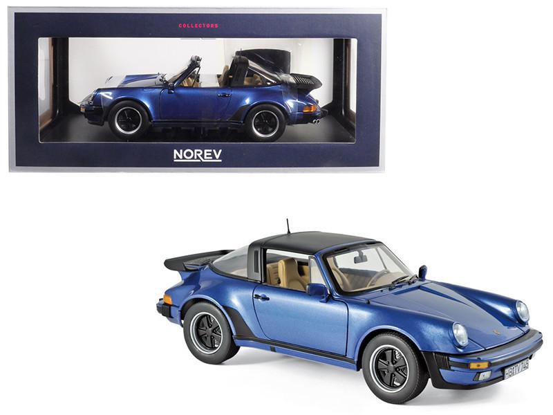 1987 Porsche 911 Turbo Targa 3.3 Blue Metallic 1/18 Diecast Model Car Norev 187663