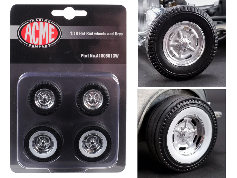 Chrome Salt Flat Wheel Tire Set 4 pieces 1932 Ford 5 Window Hot Rod 1/18 Acme A1805013W
