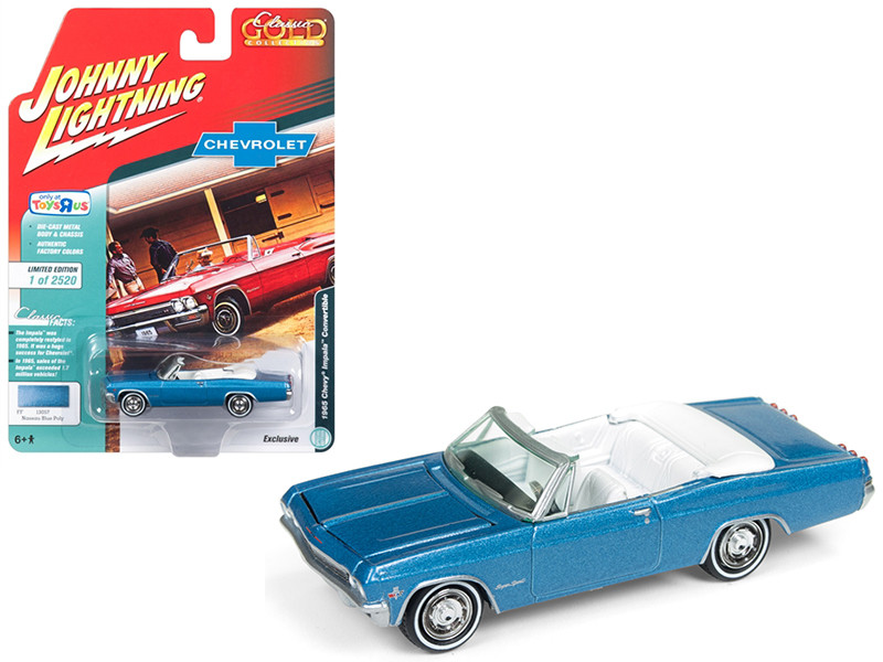 1965 Chevrolet Impala Convertible Blue Metallic Classic Gold Limited Edition 2520 pieces Worldwide 1/64 Diecast Model Car Johnny Lightning JLSP039