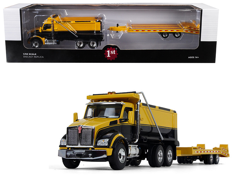 Kenworth T880 Tandem Axle Dump Truck with Beavertail Trailer Yellow/ Black 1/50 Diecast Model by First Gear