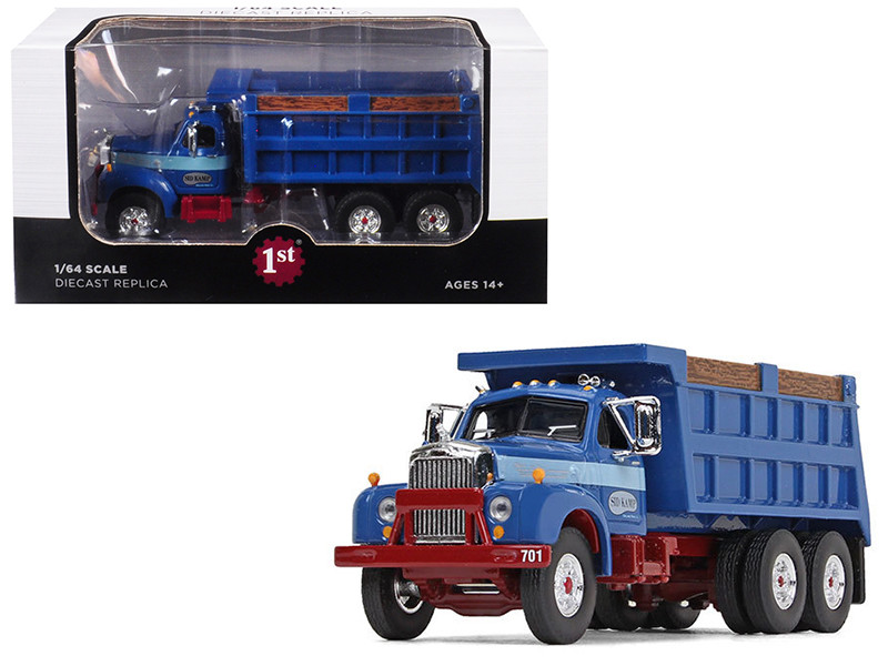 Mack B-61 Tandem Axle Dump Truck Sid Kamp Dark Blue 1/64 Diecast Model First Gear 60-0399