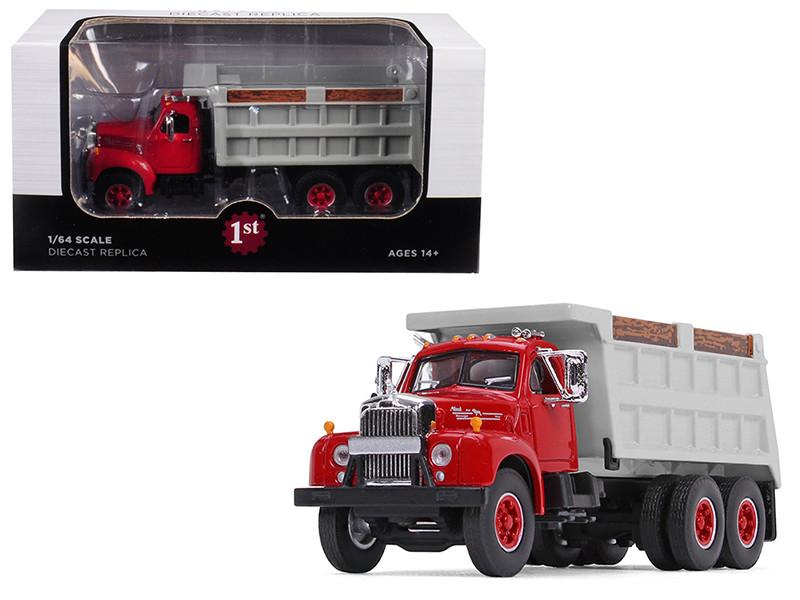 Mack B-61 Tandem Axle Dump Truck Red Cab Gray Body 1/64 Diecast Model First Gear 60-0401