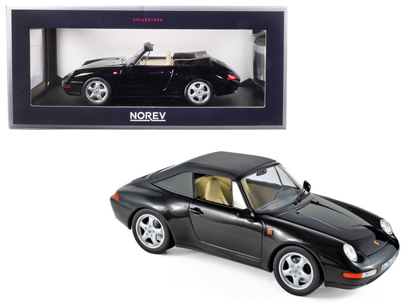 1993 Porsche 911 Carrera Cabriolet Black 1/18 Diecast Model Car Norev 187595