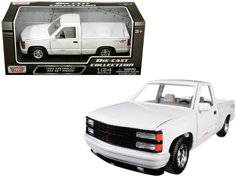 1992 Chevrolet 1500 Ss 454 Pickup Truck White 1 24 Diecast Model By Motormax