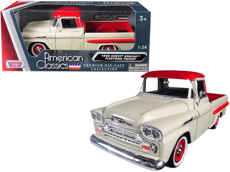 1958 Chevrolet Apache Fleetside Pickup Truck Cream Red Top 1/24 Diecast Model Car Motormax 79311
