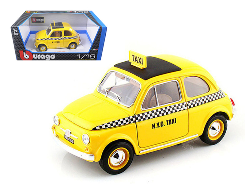 Fiat 500 Taxi Cab 1/18 Diecast Model Car Bburago 12066