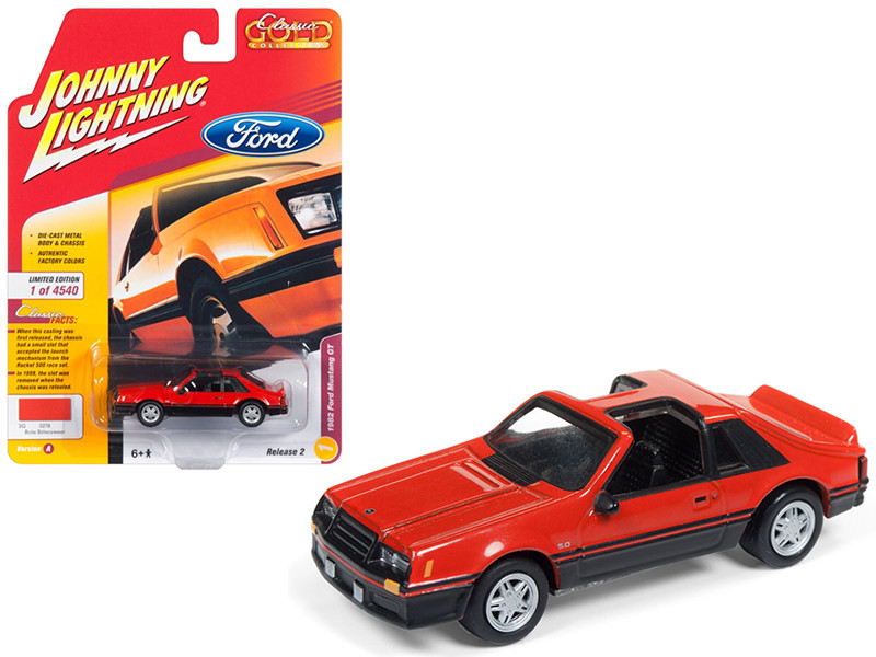 1982 Ford Mustang GT 5.0 Brite Orange Classic Gold Limited Edition 4540 pieces Worldwide 1/64 Diecast Model Car Johnny Lightning JLSP013 A