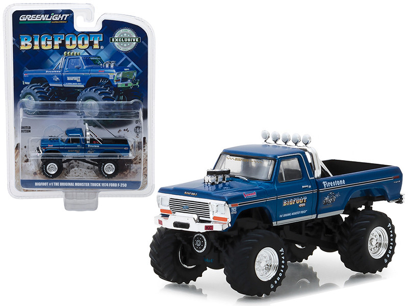 1974 Ford F-250 Monster Truck Bigfoot #1 Blue The Original Monster Truck 1979 Hobby Exclusive 1/64 Diecast Model Car Greenlight 29934