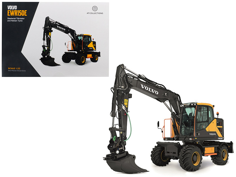 Volvo EWR150E Excavator Steelwrist Tiltrotator Nokian Tires 1/32 Diecast Model AT Collections AT3200100