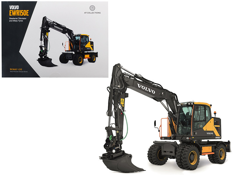 Volvo EWR150E Excavator Steelwrist Tiltrotator Mitas Twin Tires 1/32 Diecast Model AT Collections AT3200101