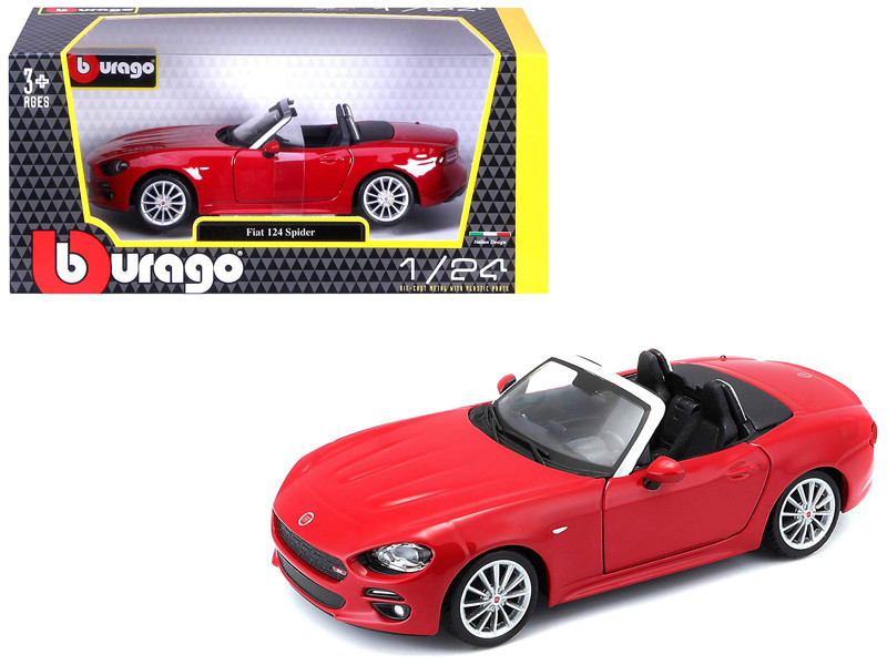 Fiat 124 Spider Coupe Red 1/24 Diecast Model Car Bburago 21083