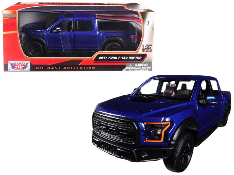 2017 Ford F-150 Raptor Pickup Truck Blue Black Wheels 1/27 Diecast Model Car Motormax 79344