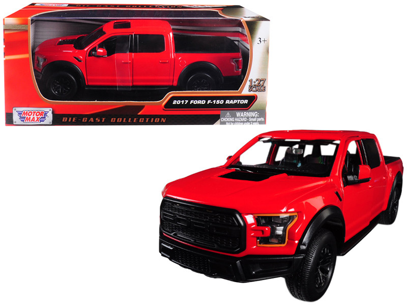 2017 Ford F-150 Raptor Pickup Truck Red Black Wheels 1/27 Diecast Model Car Motormax 79344