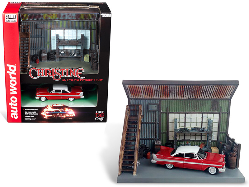 1958 Plymouth Fury Red Darnell's Garage Scenic Display Diorama Christine 1983 Movie 1/64 Diecast Model Autoworld AWSD001