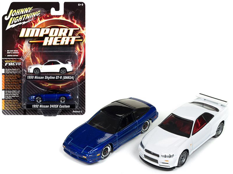 1992 Nissan 240 SX Custom Cobalt Blue Metallic 1999 Nissan Skyline GT-R BNR34 White Import Heat Set 2 1/64 Diecast Model Cars Johnny Lightning JLPK004 JLSP041
