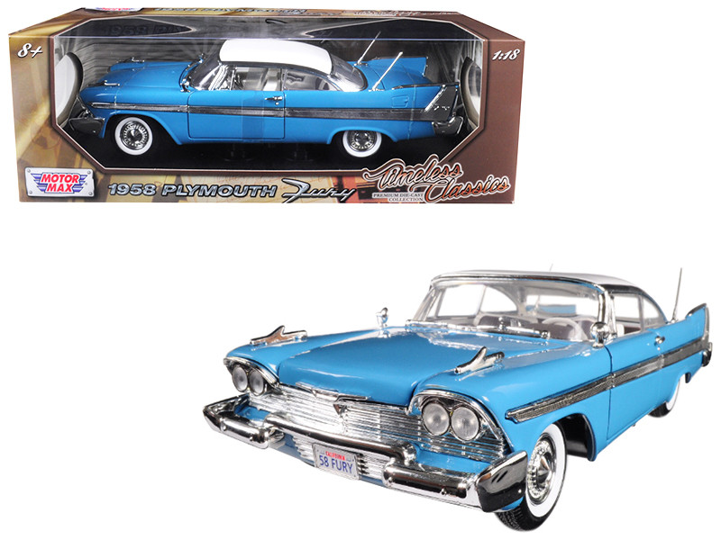 1958 Plymouth Fury Timeless Classics Blue White Top 1/18 Diecast Model Car Motormax 73115