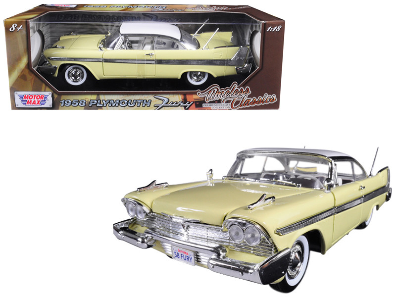 1958 Plymouth Fury Timeless Classics Yellow White Top 1/18 Diecast Model Car Motormax 73115