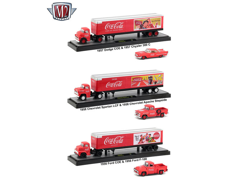 Auto Haulers Coca Cola 3 Trucks Set 1/64 Diecast Models M2 Machines 56000-50S01