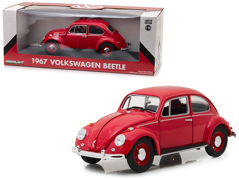 1967 Volkswagen Beetle Right Hand Drive Candy Apple Red 1/18 Diecast Model Car Greenlight 13511