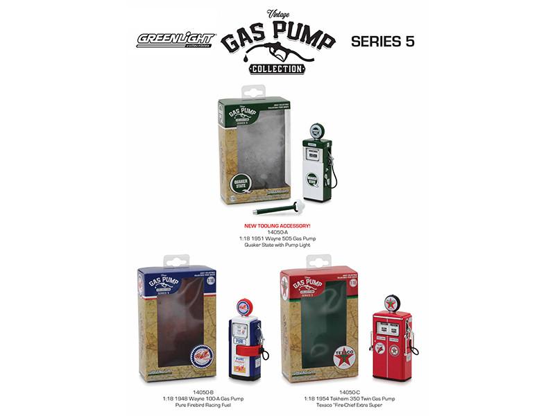 Vintage Gas Pump Series 5 Set 3 Pumps 1/18 Diecast Models Greenlight 14050