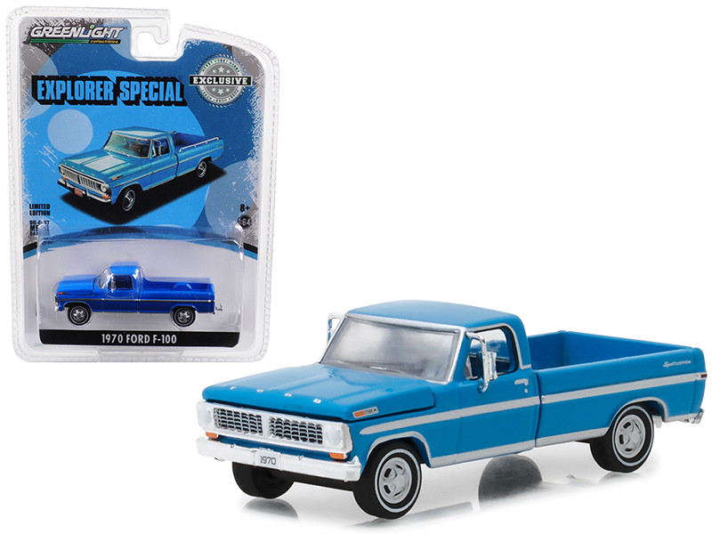 1970 F-100 Explorer Special Long Bed Pickup Truck Grabber Blue Hobby Exclusive 1/64 Diecast Model Car Greenlight 29967