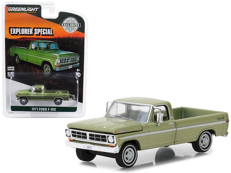 1971 F-100 Explorer Special Long Bed Pickup Truck Lime Gold Metallic Hobby Exclusive 1/64 Diecast Model Car Greenlight 29968