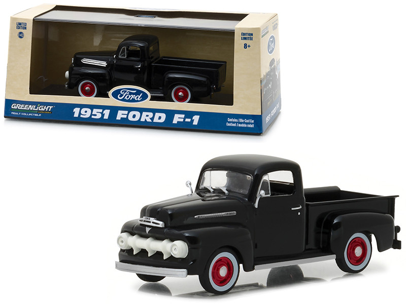1951 Ford F-1 Pickup Truck Raven Black 1/43 Diecast Model Car Greenlight 86315