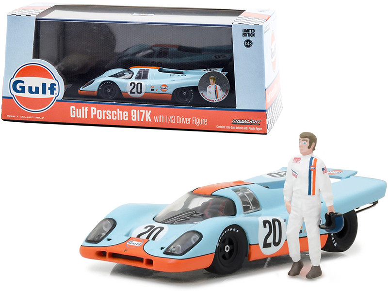 1970 Porsche 917K #20 Gulf Oil Figurine 1/43 Diecast Model Car Greenlight 86435