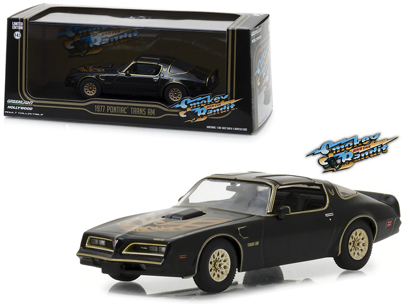 1977 Pontiac Firebird Trans Am Black Smokey Bandit 1977 Movie 1/43 Diecast Model Car Greenlight 86513