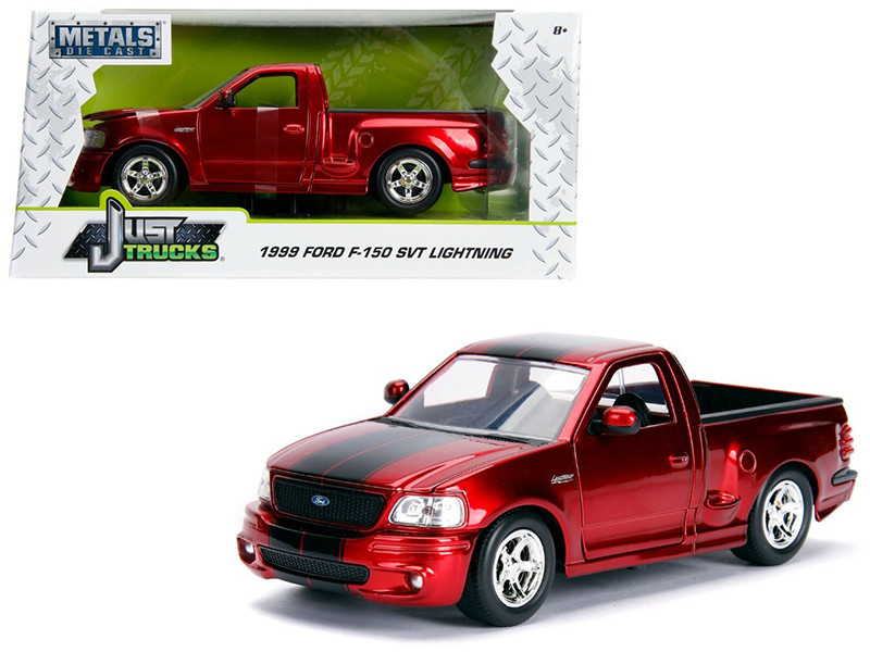 1999 Ford F-150 SVT Lightning Pickup Truck Candy Red Black Stripes Just Trucks Series 1/24 Diecast Model Car Jada 30357