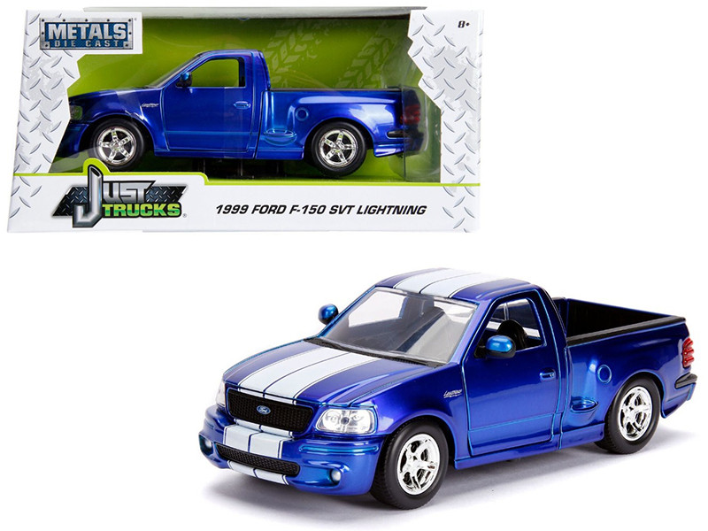 1999 Ford F-150 SVT Lightning Pickup Truck Candy Blue White Stripes Just Trucks Series 1/24 Diecast Model Car Jada 30358