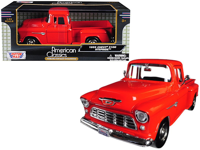 1955 Chevrolet 5100 Stepside Pickup Truck Orange 1/24 Diecast Model Car Motormax 73236