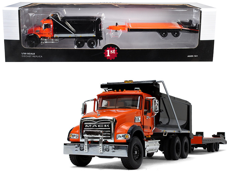 Mack Granite MP Tandem Axle Dump Truck Beavertail Trailer Orange Black 1/50 Diecast Model First Gear 50-3403