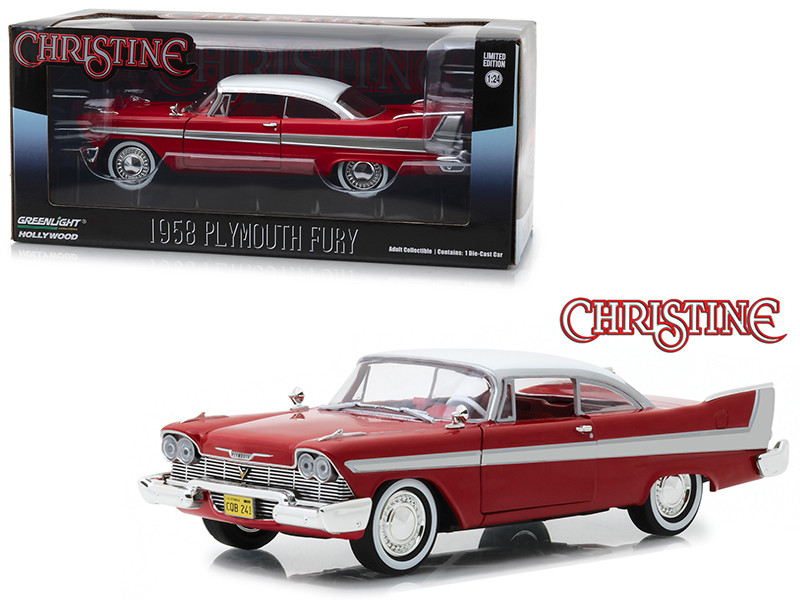 1958 Plymouth Fury Red Christine 1983 Movie 1/24 Diecast Model Car Greenlight 84071