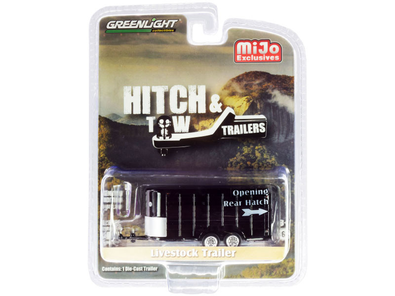 Livestock Trailer Black Hitch Tow Trailers Series Limited Edition 2300 pieces Worldwide 1/64 Diecast Model Greenlight 51213