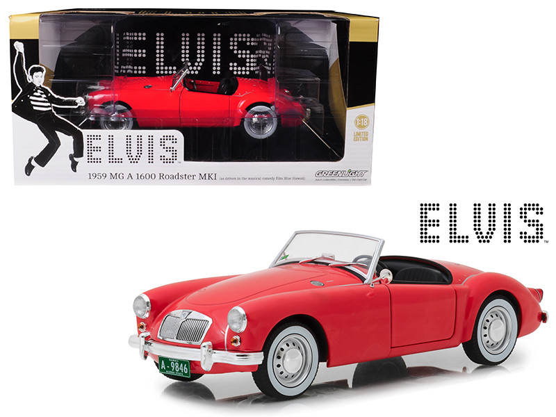 1959 MG A 1600 Roadster MKI Red Blue Hawaii 1961 Movie Elvis Presley Series 1935 1977 1/18 Diecast Model Car Greenlight 13524