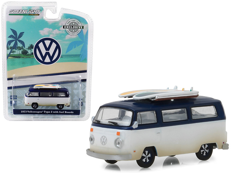 1973 Volkswagen Type 2 T2B Van Surf Boards White Blue Top Hobby Exclusive 1/64 Diecast Model Car Greenlight 29956