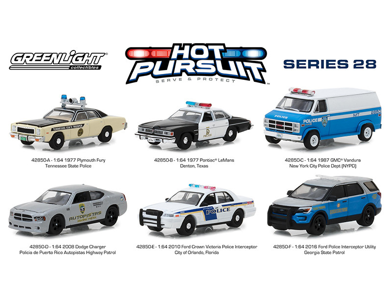 Hot Pursuit Series 28 Set 6 Cars 1/64 Diecast Models Greenlight 42850