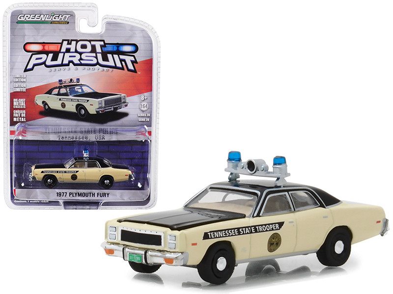 1977 Plymouth Fury Tennessee State Trooper Police Hot Pursuit Series 28 1/64 Diecast Model Car Greenlight 42850 A